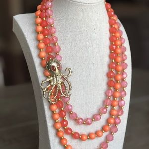 Mix It Jewelry - Pink & Coral Orange Beaded Gold Octopus Necklace